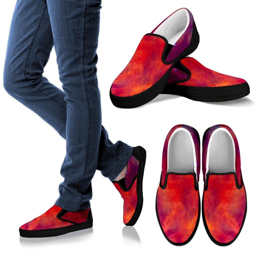 Abstract Nebula Cloud Galaxy Space Print Men's Slip On Shoes GearFrost
