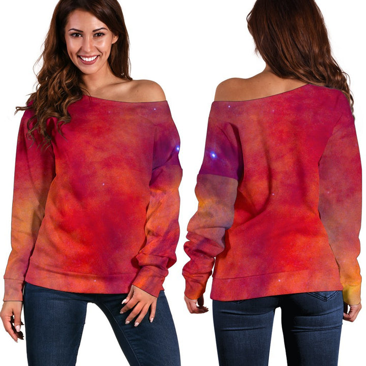 Abstract Nebula Cloud Galaxy Space Print Off Shoulder Sweatshirt GearFrost