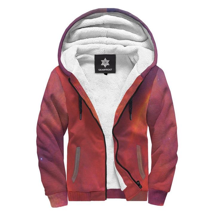 Abstract Nebula Cloud Galaxy Space Print Sherpa Lined Fleece Hoodie GearFrost