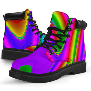 Abstract Neon Trippy Print All Season Boots GearFrost