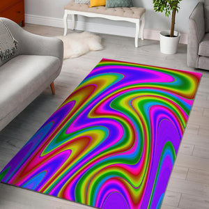 Abstract Neon Trippy Print Area Rug GearFrost