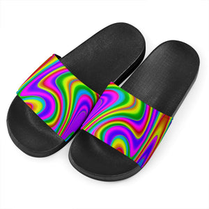 Abstract Neon Trippy Print Black Slide Sandals GearFrost