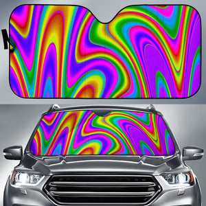 Abstract Neon Trippy Print Car Sun Shade GearFrost