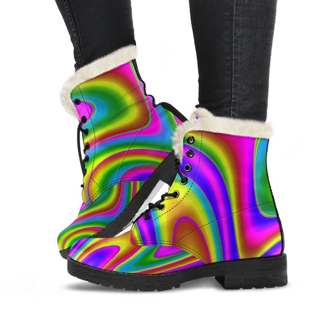 Abstract Neon Trippy Print Comfy Boots GearFrost