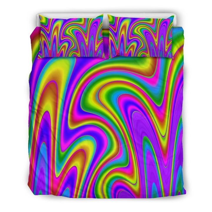 Abstract Neon Trippy Print Duvet Cover Bedding Set GearFrost