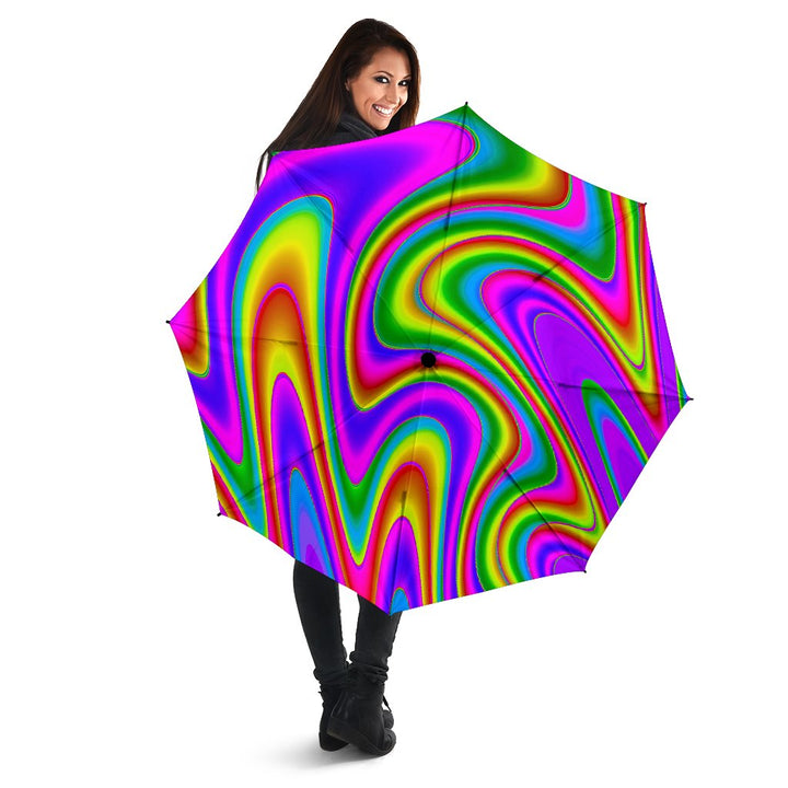 Abstract Neon Trippy Print Foldable Umbrella GearFrost