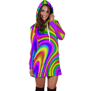 Abstract Neon Trippy Print Hoodie Dress GearFrost