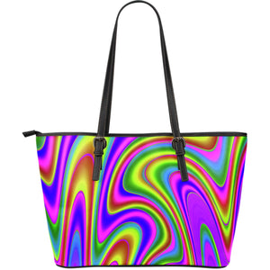 Abstract Neon Trippy Print Leather Tote Bag GearFrost