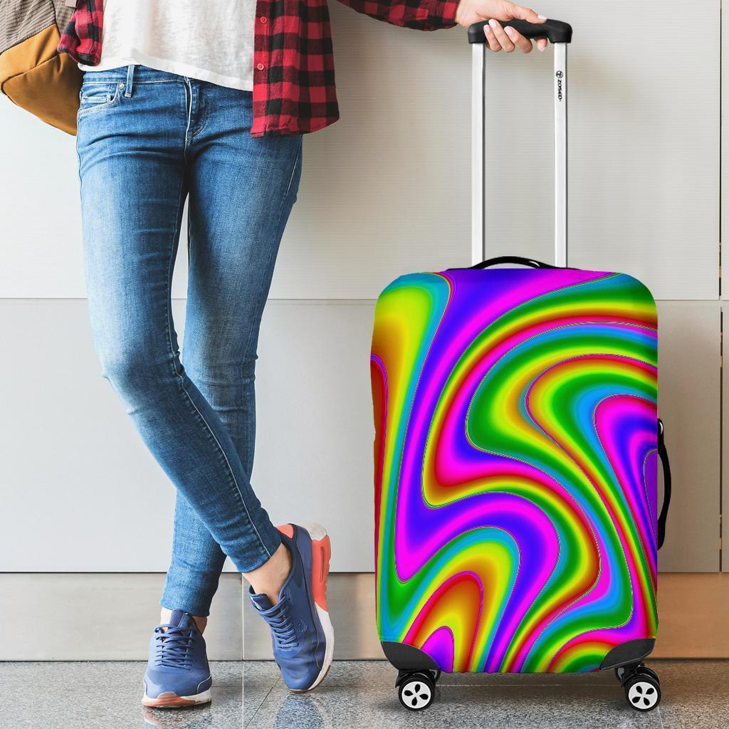 Abstract Neon Trippy Print Luggage Cover GearFrost