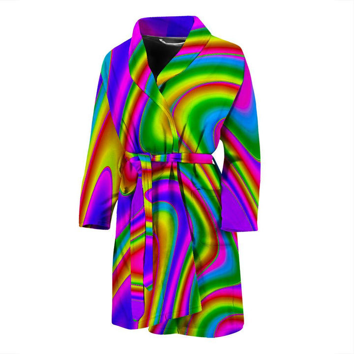 Abstract Neon Trippy Print Men's Bathrobe GearFrost