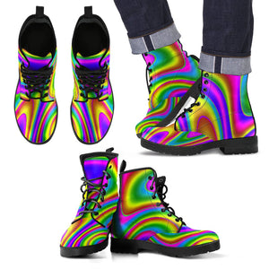 Abstract Neon Trippy Print Men's Boots GearFrost