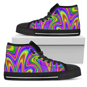 Abstract Neon Trippy Print Men's High Top Shoes GearFrost