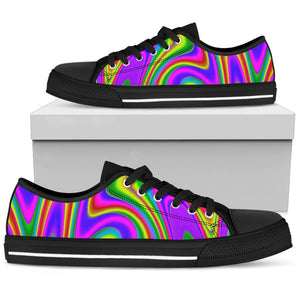 Abstract Neon Trippy Print Men's Low Top Shoes GearFrost