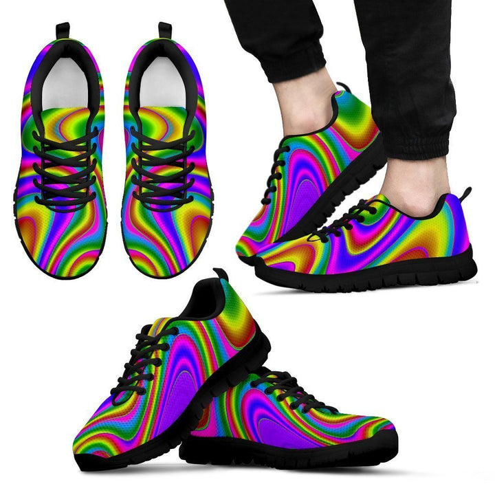 Abstract Neon Trippy Print Men's Sneakers GearFrost