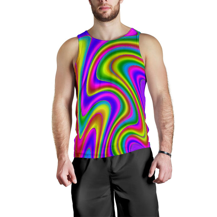 Abstract Neon Trippy Print Men's Tank Top GearFrost