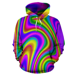 Abstract Neon Trippy Print Pullover Hoodie GearFrost