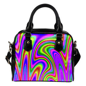 Abstract Neon Trippy Print Shoulder Handbag GearFrost