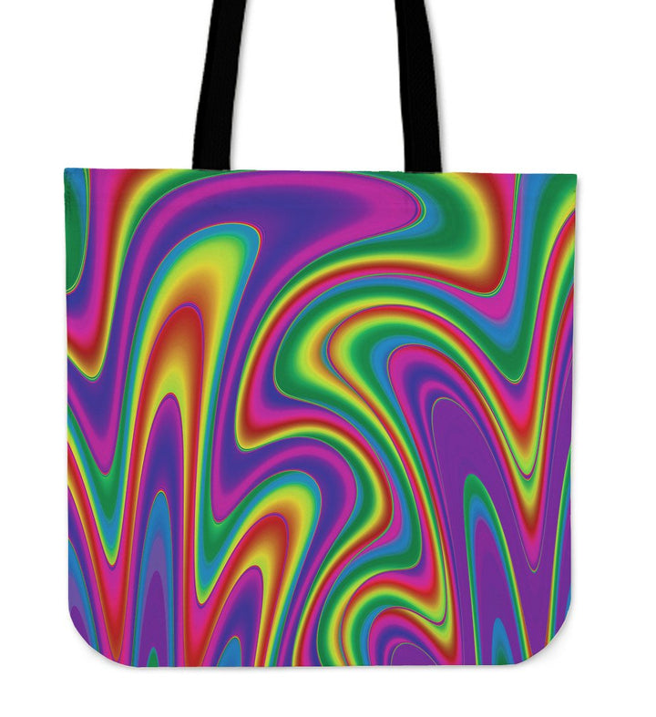 Abstract Neon Trippy Print Tote Bag GearFrost