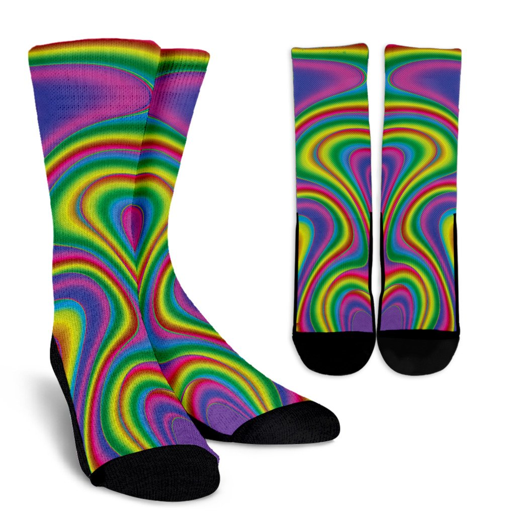 Abstract Neon Trippy Print Unisex Crew Socks GearFrost
