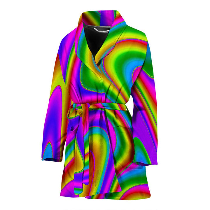 Abstract Neon Trippy Print Women's Bathrobe GearFrost