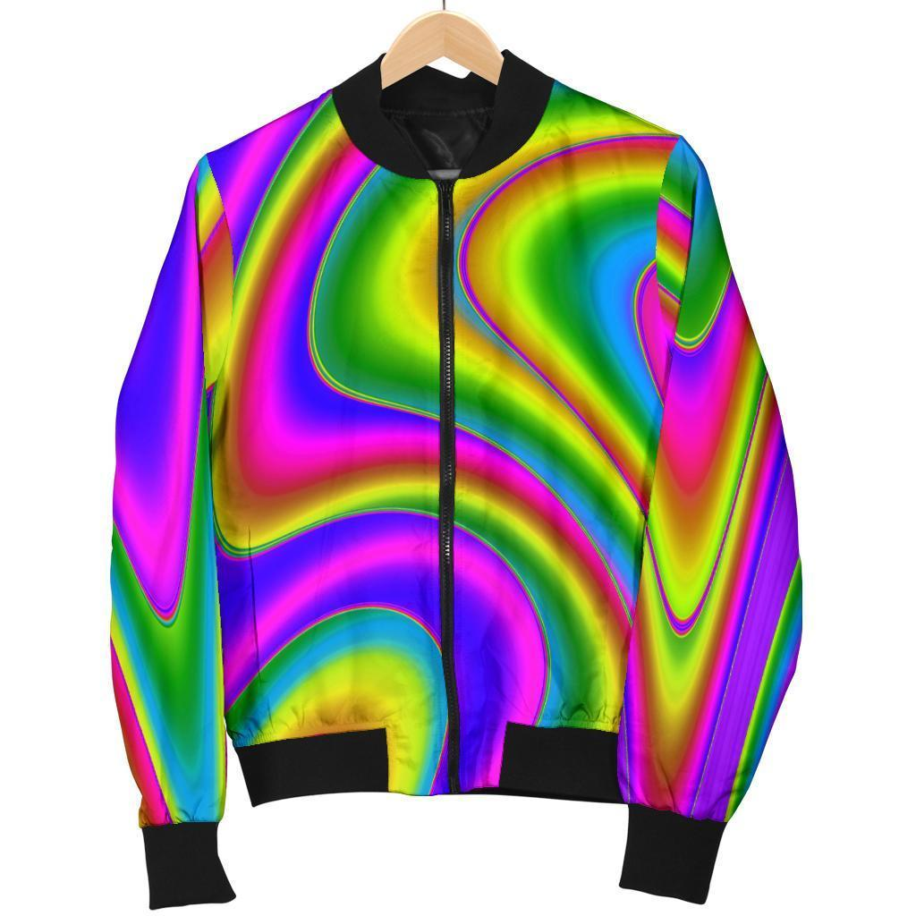 Abstract Neon Trippy Print Women's Bomber Jacket GearFrost