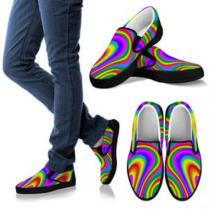 Abstract Neon Trippy Print Women's Slip On Shoes GearFrost