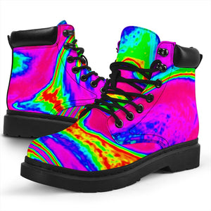 Abstract Psychedelic Liquid Trippy Print All Season Boots GearFrost