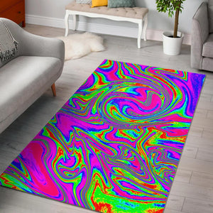Abstract Psychedelic Liquid Trippy Print Area Rug GearFrost