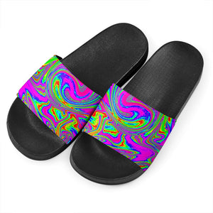 Abstract Psychedelic Liquid Trippy Print Black Slide Sandals GearFrost