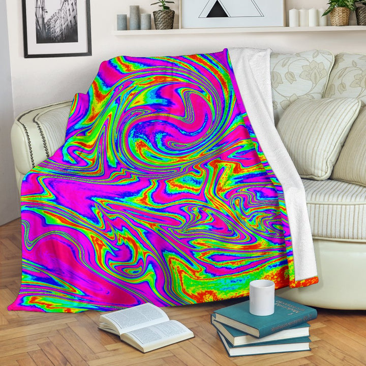 Abstract Psychedelic Liquid Trippy Print Blanket GearFrost