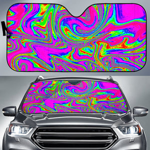 Abstract Psychedelic Liquid Trippy Print Car Sun Shade GearFrost