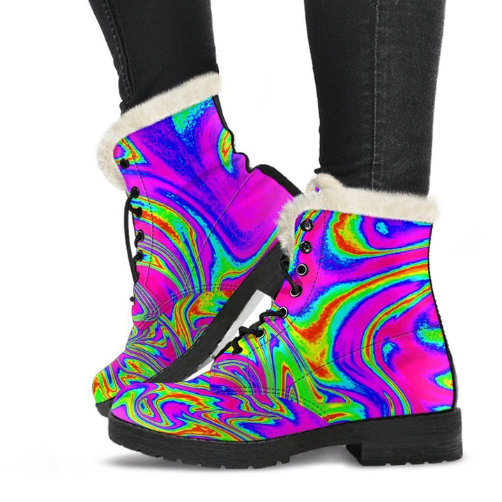 Abstract Psychedelic Liquid Trippy Print Comfy Boots GearFrost