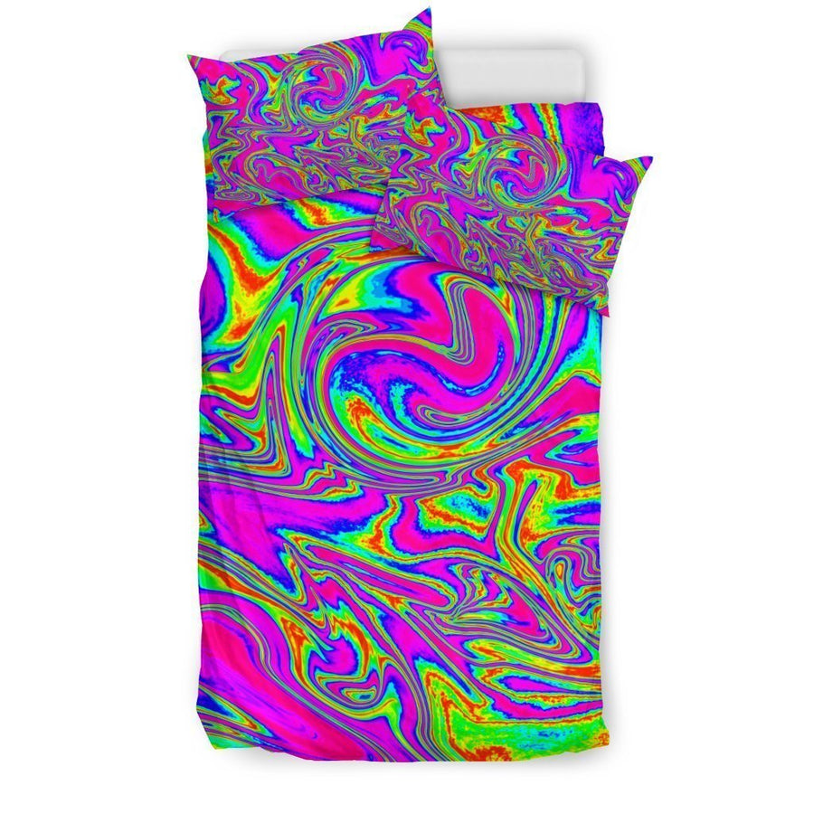 Abstract Psychedelic Liquid Trippy Print Duvet Cover Bedding Set GearFrost