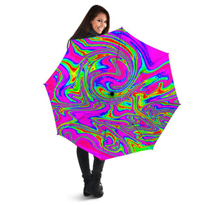 Abstract Psychedelic Liquid Trippy Print Foldable Umbrella GearFrost