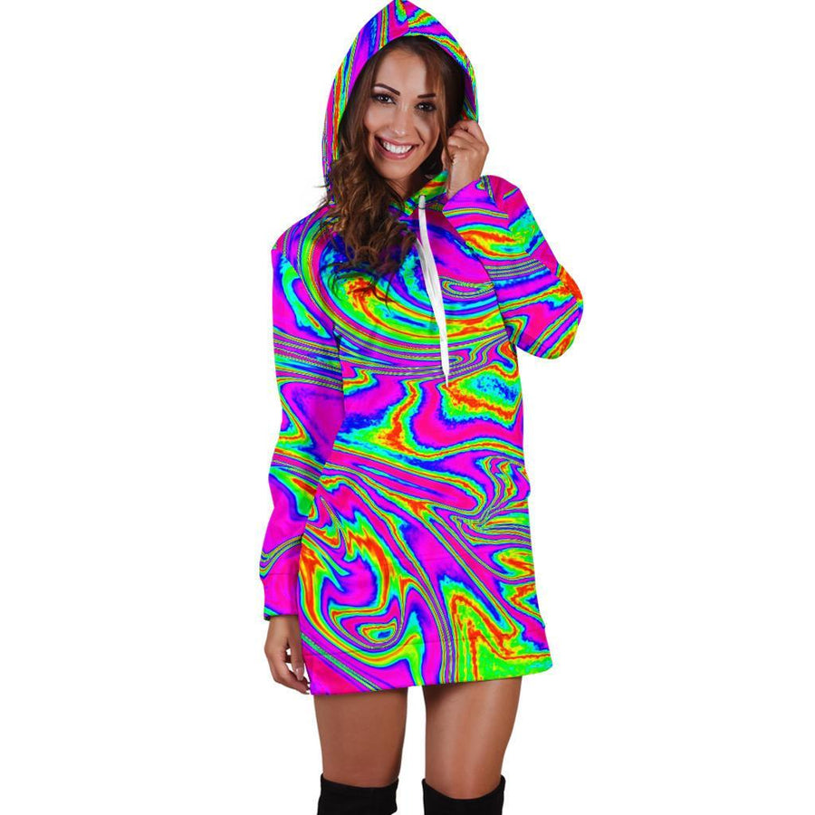 Abstract Psychedelic Liquid Trippy Print Hoodie Dress GearFrost