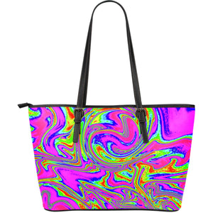 Abstract Psychedelic Liquid Trippy Print Leather Tote Bag GearFrost