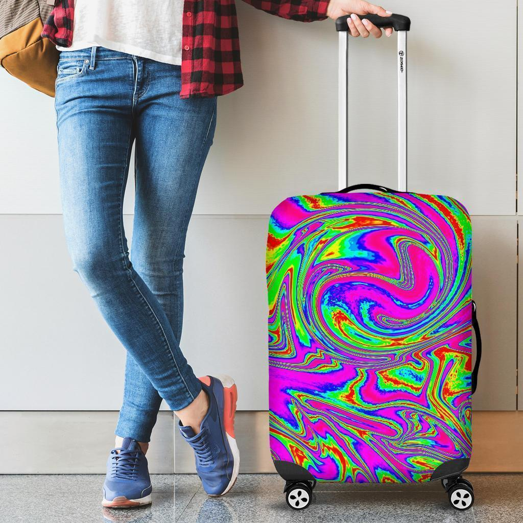 Abstract Psychedelic Liquid Trippy Print Luggage Cover GearFrost