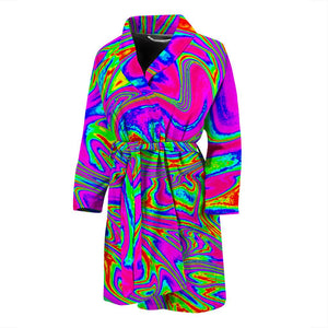Abstract Psychedelic Liquid Trippy Print Men's Bathrobe GearFrost