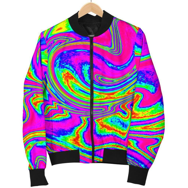 Abstract Psychedelic Liquid Trippy Print Men's Bomber Jacket GearFrost