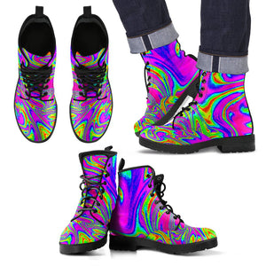 Abstract Psychedelic Liquid Trippy Print Men's Boots GearFrost