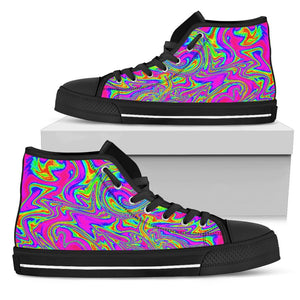Abstract Psychedelic Liquid Trippy Print Men's High Top Shoes GearFrost