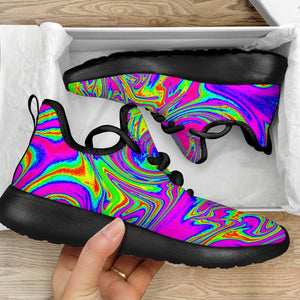 Abstract Psychedelic Liquid Trippy Print Mesh Knit Shoes GearFrost