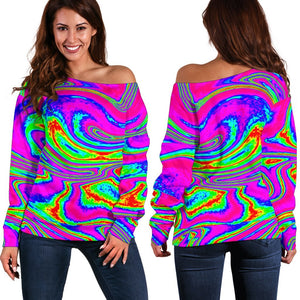 Abstract Psychedelic Liquid Trippy Print Off Shoulder Sweatshirt GearFrost