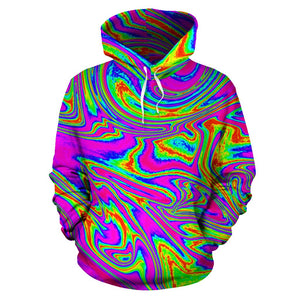 Abstract Psychedelic Liquid Trippy Print Pullover Hoodie GearFrost