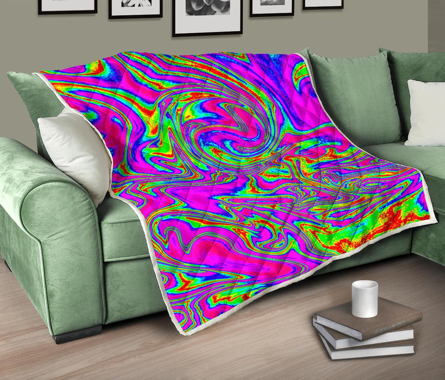 Abstract Psychedelic Liquid Trippy Print Quilt GearFrost