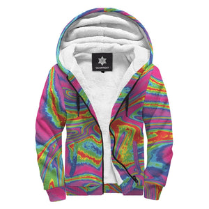 Abstract Psychedelic Liquid Trippy Print Sherpa Lined Fleece Hoodie GearFrost