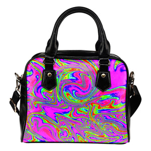 Abstract Psychedelic Liquid Trippy Print Shoulder Handbag GearFrost