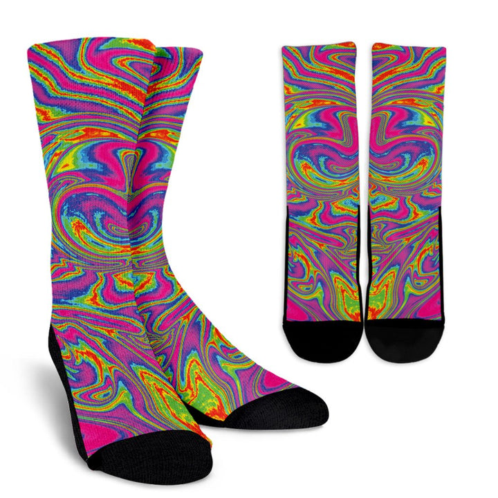 Abstract Psychedelic Liquid Trippy Print Unisex Crew Socks GearFrost