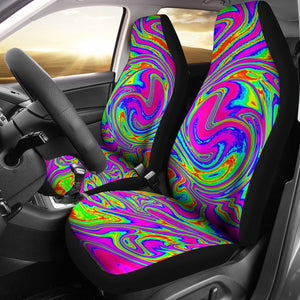 Abstract Psychedelic Liquid Trippy Print Universal Fit Car Seat Covers GearFrost