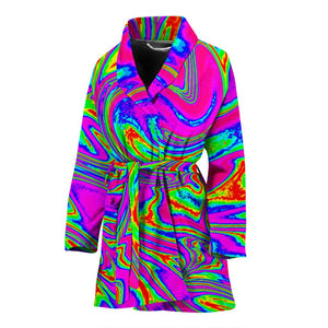Abstract Psychedelic Liquid Trippy Print Women's Bathrobe GearFrost